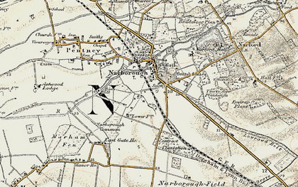 Old map of Narborough in 1901-1902