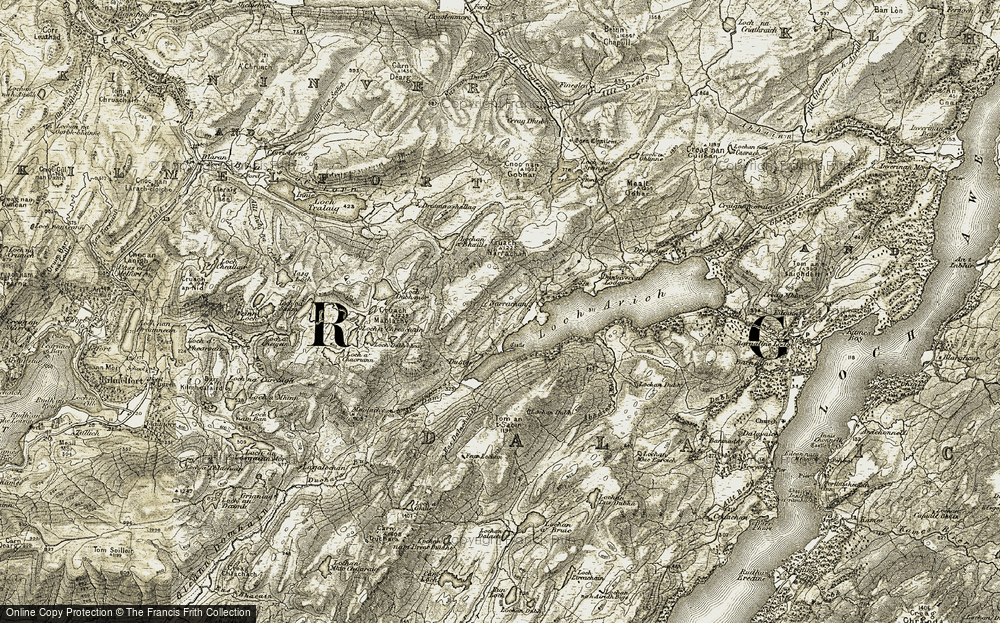 Old Map of Historic Map covering Tom an t-Saoir in 1906-1907