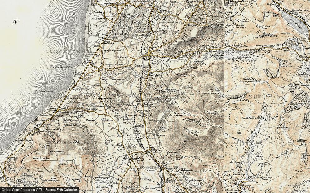 Old Map of Historic Map covering Afon Ddu in 1903