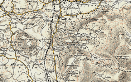 Old map of Afon Ddu in 1903
