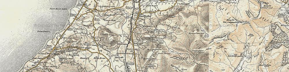 Old map of Afon Crychddwr in 1903