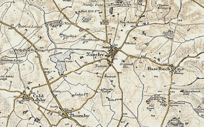 Old map of Naseby in 1901-1902