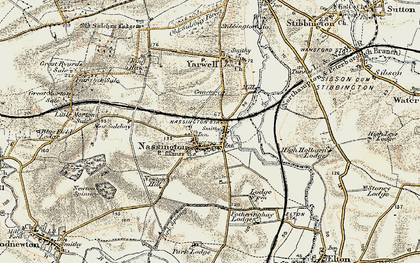 Old map of Nassington in 1901-1903