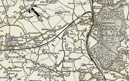 Old map of Nast Hyde in 1898