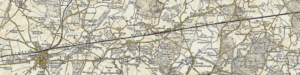 Old map of Nately Scures in 1900