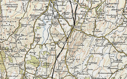 Old map of Natland in 1903-1904