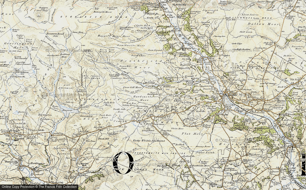 Old Map of Historic Map covering Ashfold Side Beck in 1903-1904