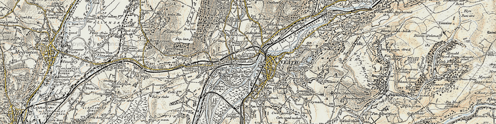Old map of Neath in 1900-1901