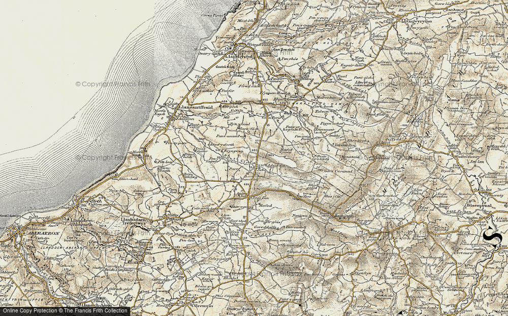 Old Map of Historic Map covering Afon Cledan in 1901-1903