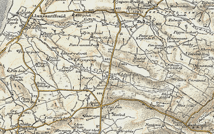 Old map of Afon Cledan in 1901-1903