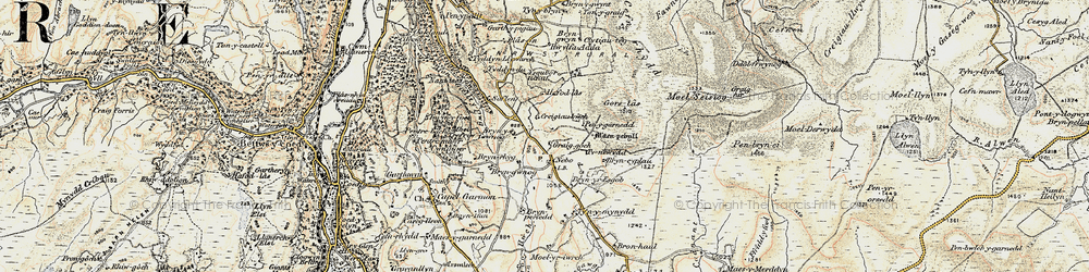 Old map of Afon Iwrch in 1902-1903
