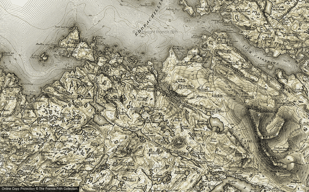 Old Map of Historic Map covering Allt Mhathain in 1910