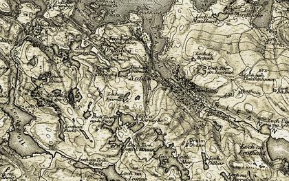 Old map of Abhainn Gleann Leireag in 1910