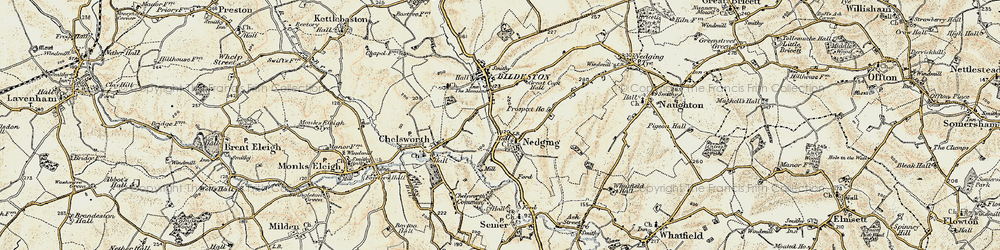 Old map of Nedging in 1899-1901
