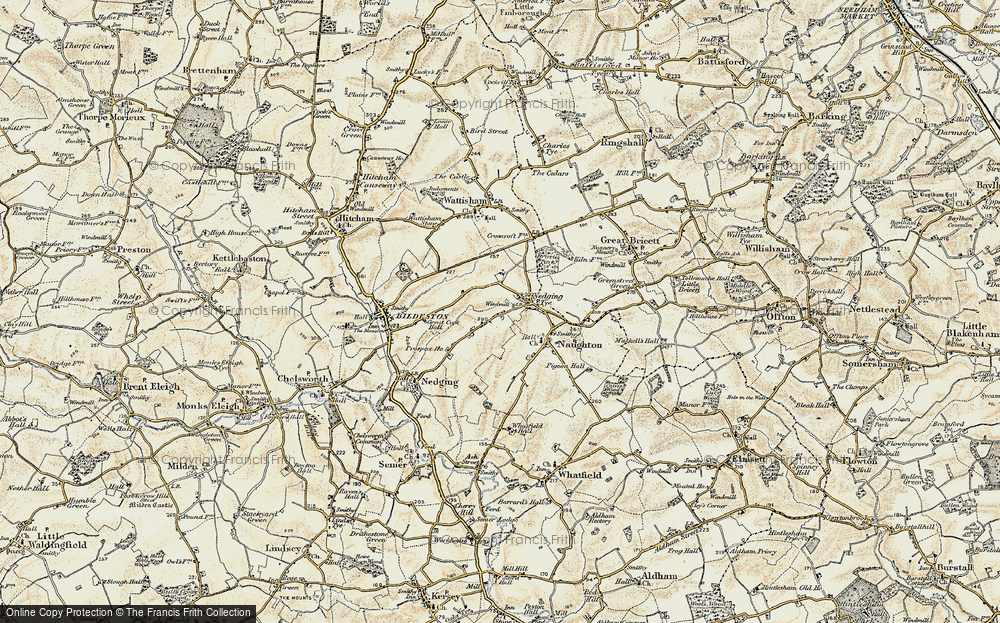 Old Map of Nedging Tye, 1899-1901 in 1899-1901