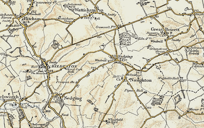 Old map of Nedging Tye in 1899-1901