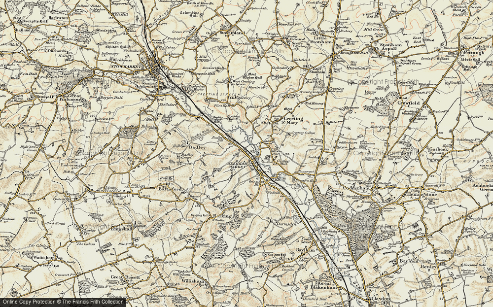 Old Map of Historic Map covering Badley Hill in 1899-1901