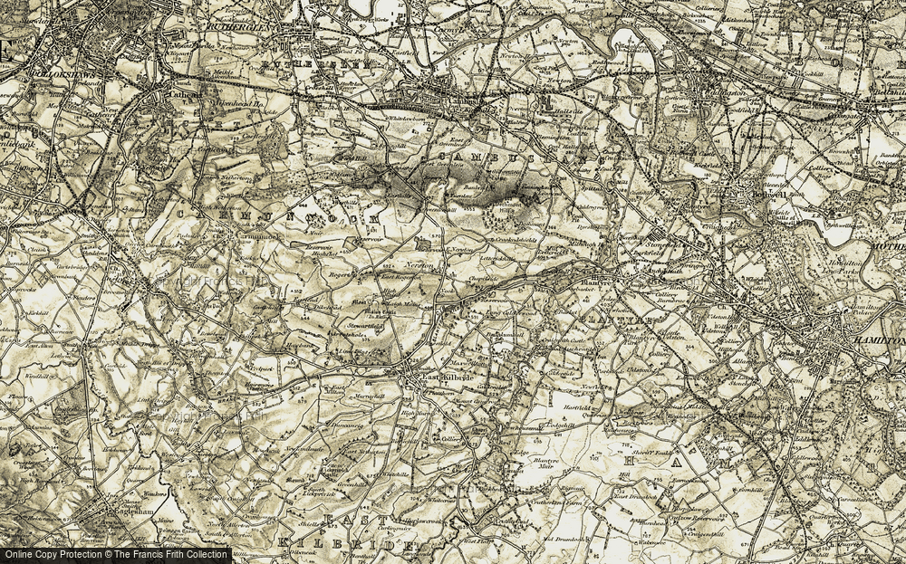 Old Map of Historic Map covering Lettrickhills in 1904-1905