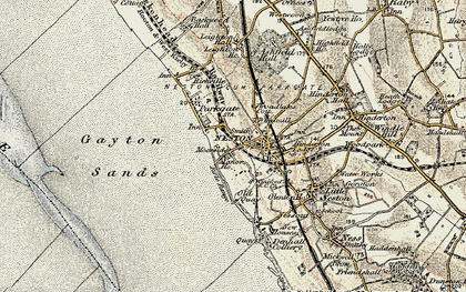 Old map of Neston in 1902-1903