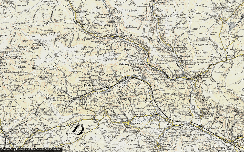 Old Map of Historic Map covering Back Tor in 1903