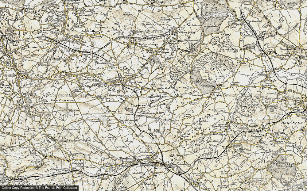 Old Map of Historic Map covering Ackin Royd in 1903