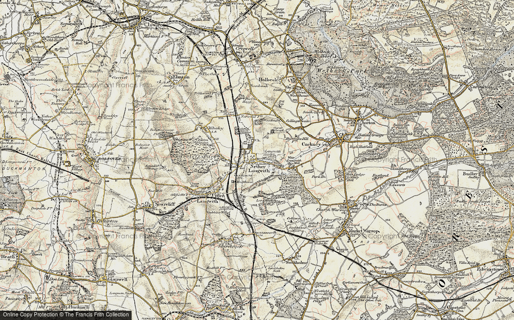 Old Map of Historic Map covering Langwith Mill Ho in 1902-1903