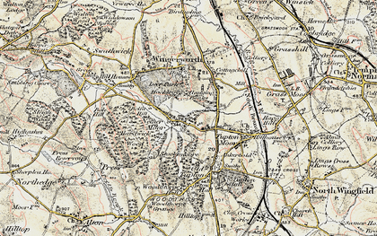Old map of Nether Moor in 1902-1903