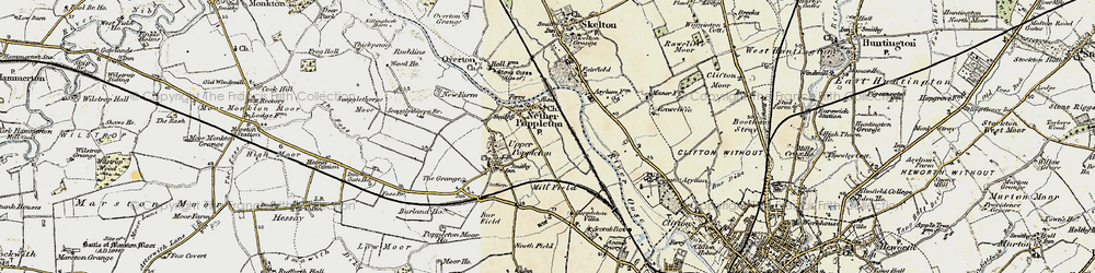 Old map of Nether Poppleton in 1903-1904