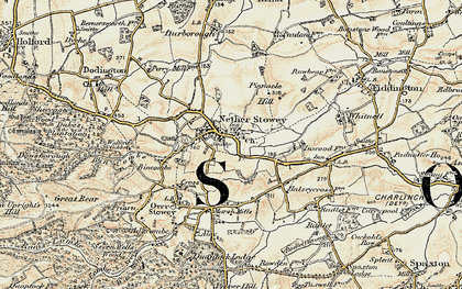 Old map of Nether Stowey in 1898-1900