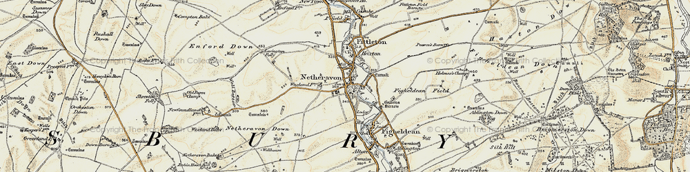 Old map of Netheravon in 1897-1899