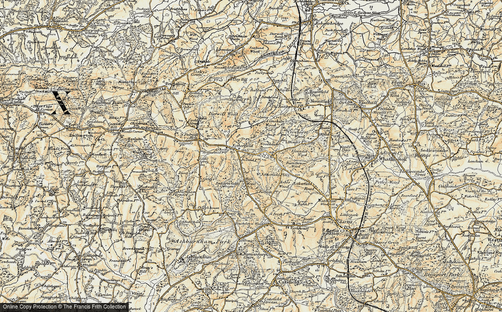 Old Map of Historic Map covering Atkins Wood in 1898