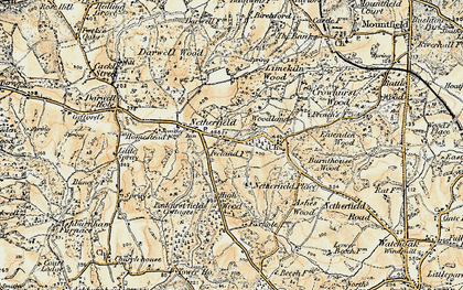 Old map of Atkins Wood in 1898