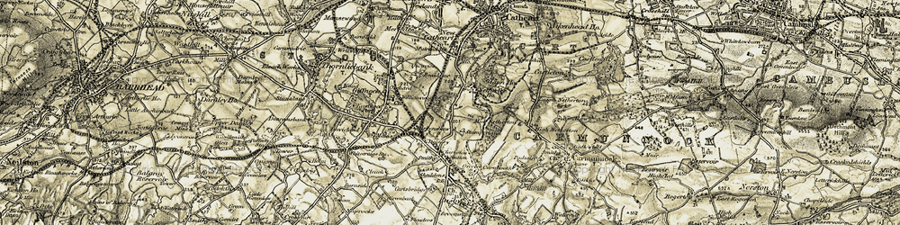 Old map of Netherlee in 1904-1905