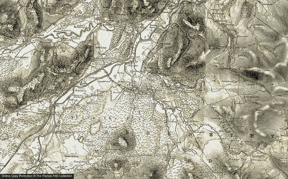 Old Map of Historic Map covering Abernethy Forest in 1908-1911