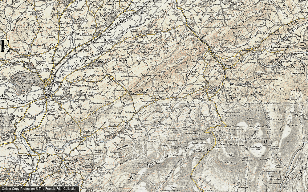 Old Map of Historic Map covering Afon Camnant in 1900-1901