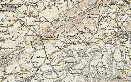 Old map of Afon Camnant in 1900-1901
