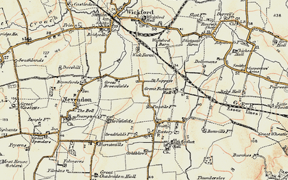 Old map of Nevendon in 1898