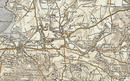 Old map of Nevern in 1901-1912