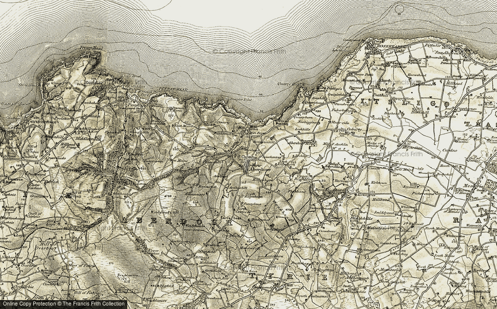 Old Map of Historic Map covering Bankhead in 1909-1910
