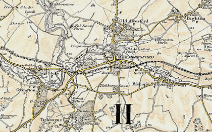 Old map of Tichborne Down in 1897-1900