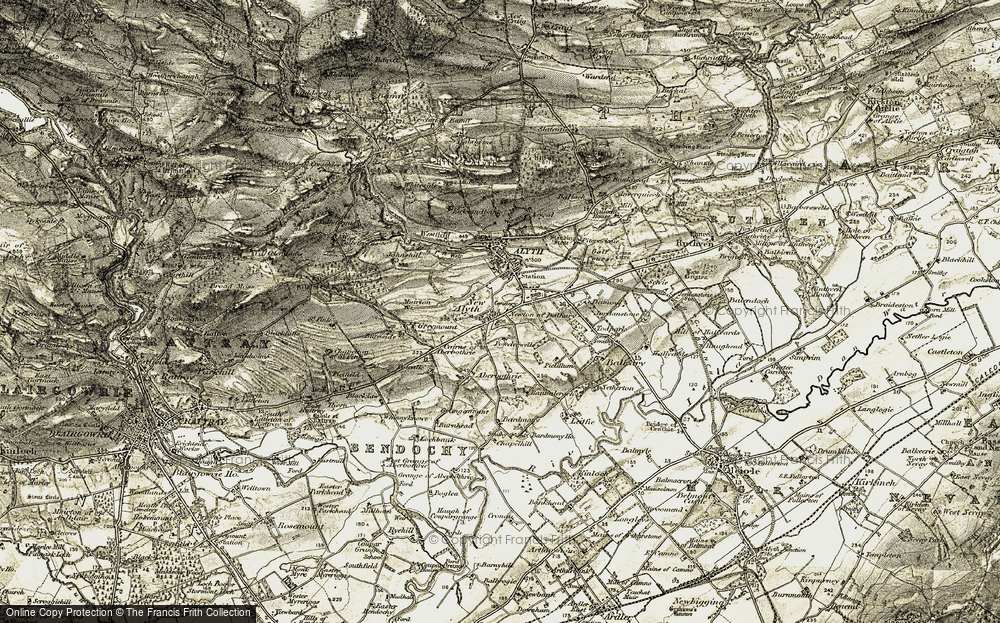 Old Map of Historic Map covering Todpark in 1907-1908