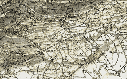 Old map of Todpark in 1907-1908