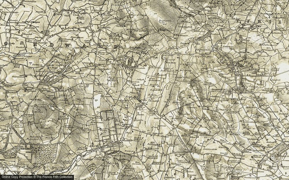 Old Map of Historic Map covering Auchnagorth in 1909-1910