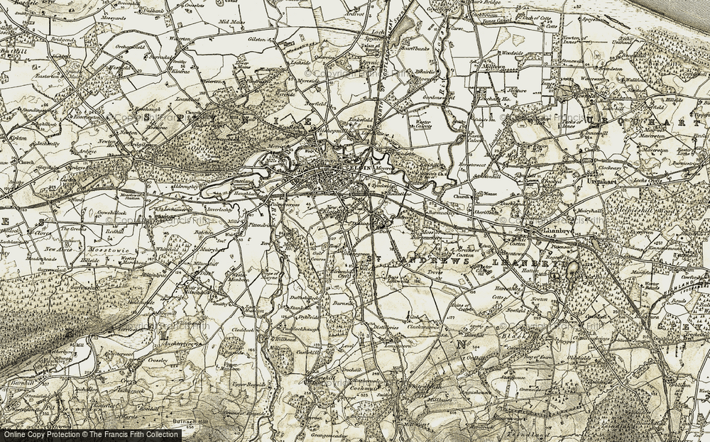 Old Map of Historic Map covering Linkwood in 1910-1911
