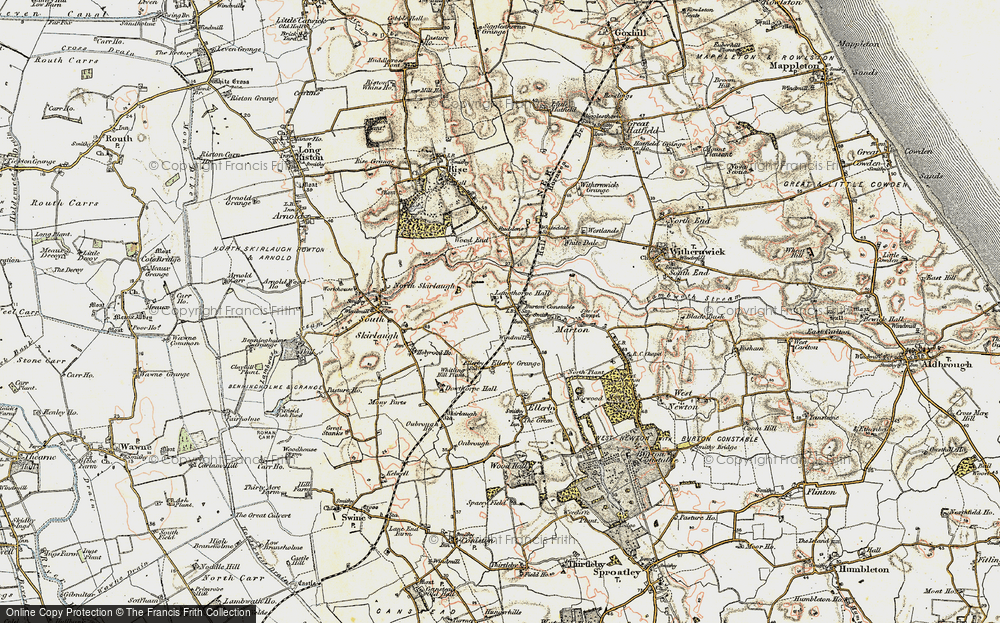 Old Map of Historic Map covering Langthorpe Hall in 1903-1908