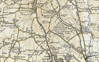 Old map of Asplands Husk Coppice in 1899-1902