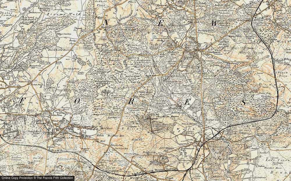Old Map of Historic Map covering Wooson's Hill Inclosure in 1897-1909
