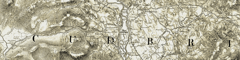 Old map of Achie in 1904-1905