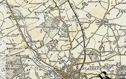 Old map of New Greens in 1898