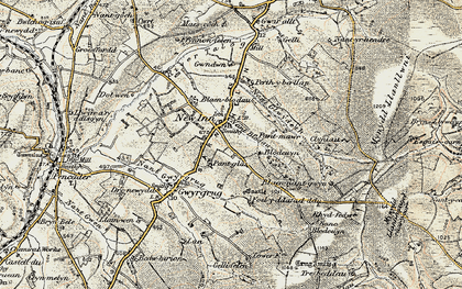Old map of Afon Gilwydeth in 1901